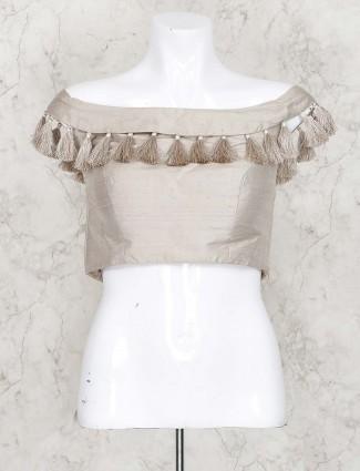 Grey hue ready made saree blouse in raw silk