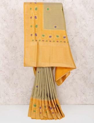 Grey hue semi silk fabric festive saree