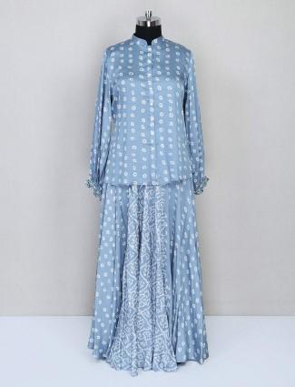 Grey lehenga style salwar kameez for festives