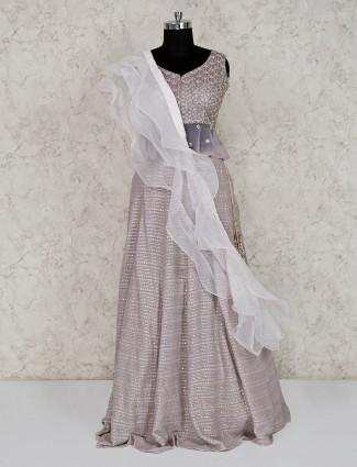 Grey net designer wedding peplum lehenga choli