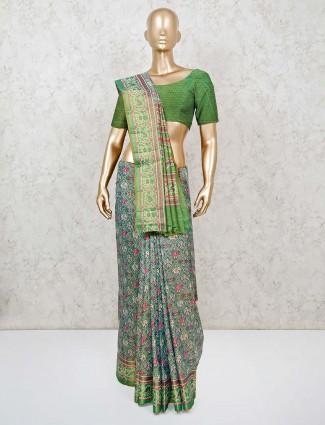 Grey patola printed with zari weaving saree in semi silk