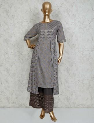 Grey printed cotton palazzo set
