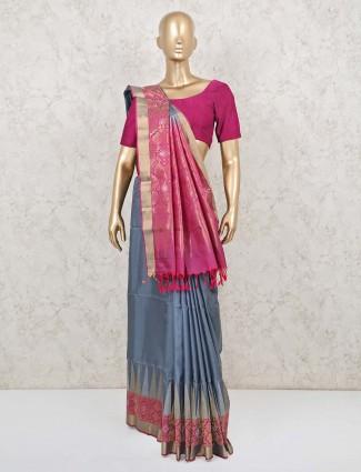 Grey pure silk saree for wedding ceremony