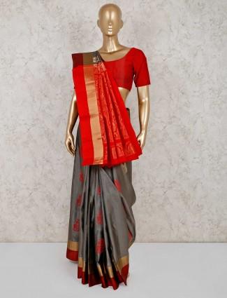 Grey pure south silk festive saree