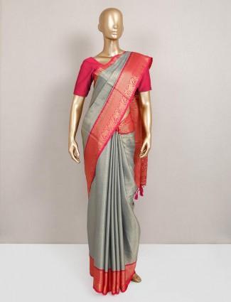 Grey semi silk festive wear sari
