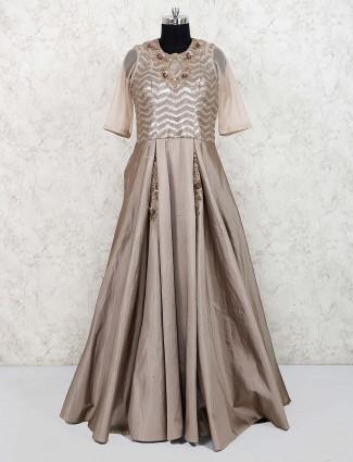 Beige silk designer party wear gown