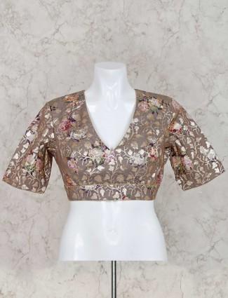 Grey silk half sleeves ready made blouse