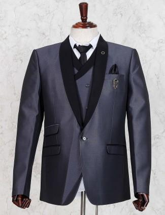 Grey simple three piece party coat suit