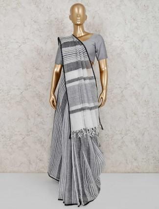 Grey stripe linen saree for festive