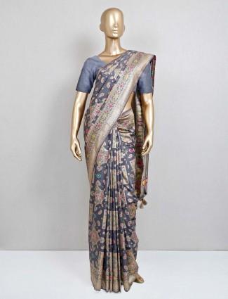 Grey wedding saree in semi banarasi silk