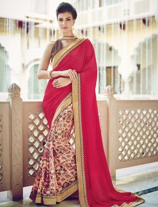 Half and half georgette printed wedding maroon beige sari