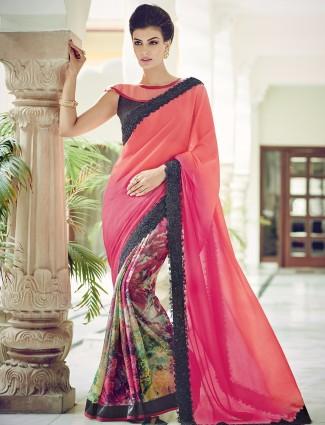 Half and half wedding wear chiffon pink shaded sari