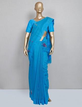 Handloom cotton blue festive wear saree