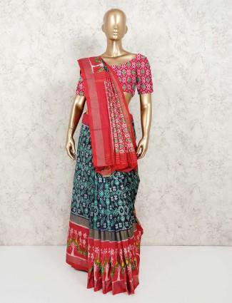 Hydrabadi patola silk thread weaving saree in navy
