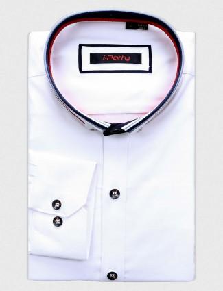 I Party mens slim fit white shirt