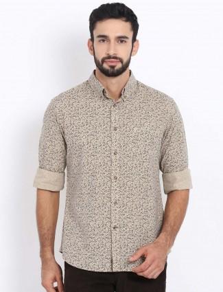 Indian Terrain beige printed button down shirt