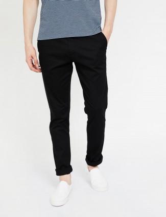 Indian Terrain black cotton solid trouser