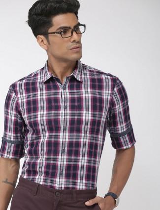 Indian Terrain cotton purple checks shirt