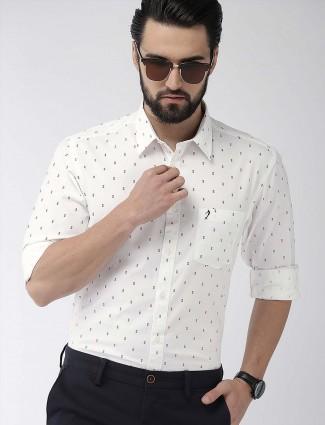 Indian Terrain printed off white slim fit shirt