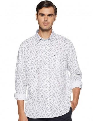 Indian Terrain slim collar white printed shirt