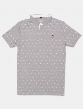Instinto half sleeves light grey printed polo t-shirt