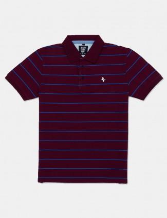 Instinto maroon polo neck stripe t-shirt
