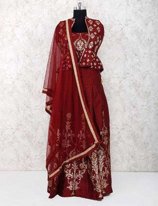 Jacket style maroon color raw silk lehenga choli