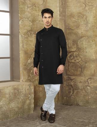 Jet black color cotton fabric kurta suit