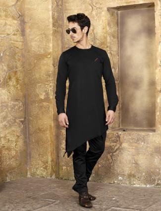 Jet black colored kurta suit