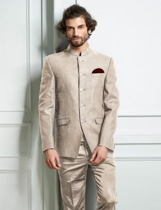 Khaki hue solid mens lenin jodhpuri suit