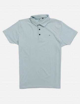 Kuch Kuch light blue slim fit solid t-shirt