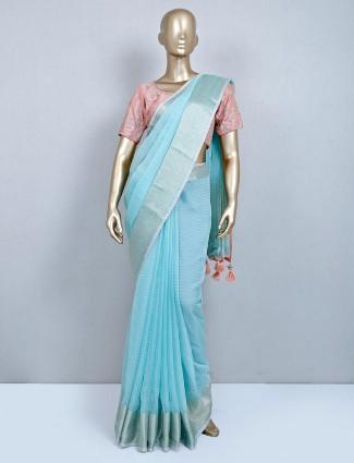 Latest aqua cotton wedding wear saree