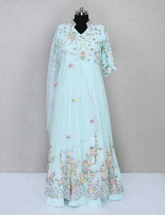 Latest aqua georgette festive wear salwar kameez