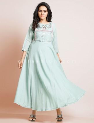 Latest blue cotton kurti for women
