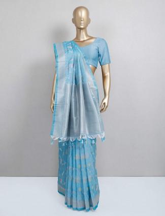 Latest blue semi silk saree for festive
