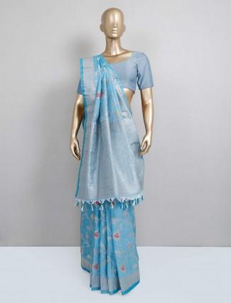Latest blue trendy semi silk saree for festive