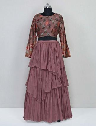 Latest Brown georgette wedding lehenga suit