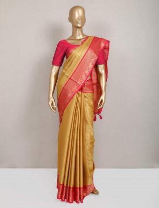 Latest gold semi silk saree