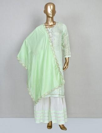 Latest green punjabi sharara suit in cotton