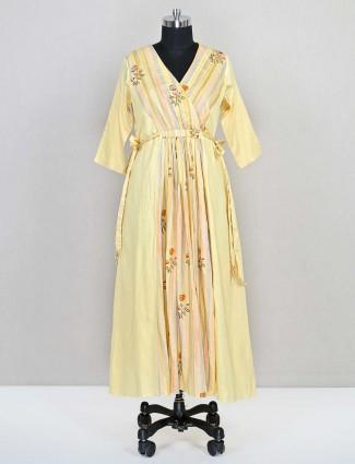 Latest lemon yellow cotton wedding wear salwar kameez