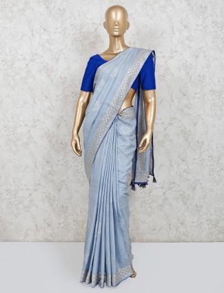 Latest light blue festive wear saree