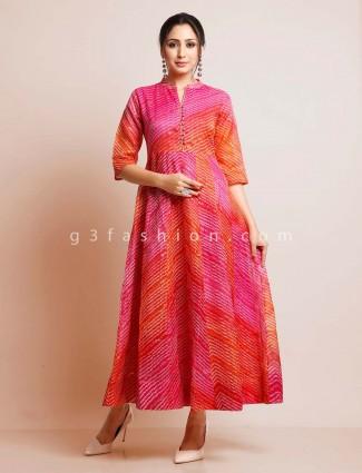 Latest magenta printed cotton kurti