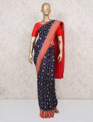 Latest orange and navy muga silk saree for wedding