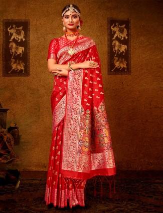 Latest orange banarasi silk wedding wear saree