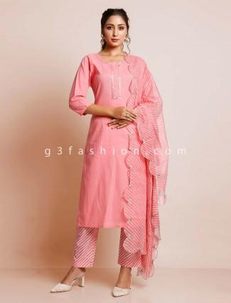 Latest pink cotton causal wear salwar kameez
