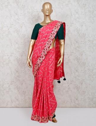 Latest pink dola silk party wear saree