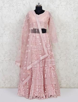 Latest pink net wedding wear lehenga choli