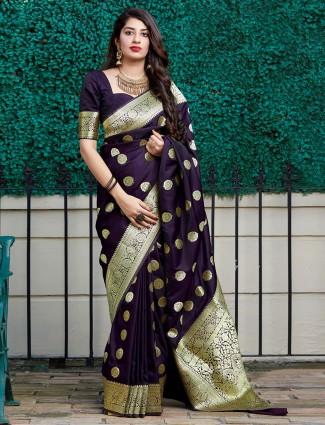 Latest purple banarasi silk saree for party wear
