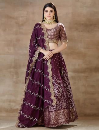 Latest Purple wedding lehenga choli in georgette