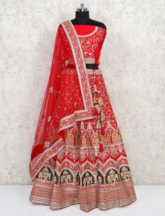 Latest red bridal silk semi stitched lehenga choli